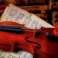 Red Rose And Violin With Sheet Music by Garry Gay