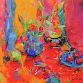 Red Tulips And Fruits by Peter Graham