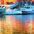Reflections At Dusk In Camden Harbor, Maine by Anita Pollak