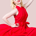 Retro Blond Pinup Woman Wearing A Red Dress by Jorgo Photography - Wall Art Gallery