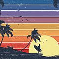 Retro Surfer Sunset by Kycstudio