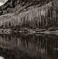 Right Panel 3 Of 3 - Panoramic Maroon Bells Sepia Mountain Landscape by Gregory Ballos