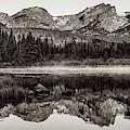 Rmnp Sprague Lake Mountain Landscape Panorama - Estes Park Colorado In Sepia by Gregory Ballos