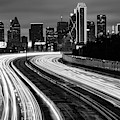 Road To The Dallas Texas Skyline - Black And White Edition by Gregory Ballos