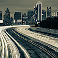 Road To The Dallas Texas Skyline - Sepia Edition by Gregory Ballos
