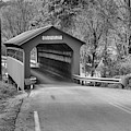 Roaring Branch Brook Covered Bridge Black And White by Adam Jewell