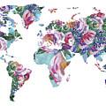 Rose Impression World Map  by Irina Sztukowski
