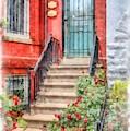 Row Houses Washington Dc 2 Watercolor by Edward Fielding