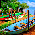 Rowboats At The Dock by Debra and Dave Vanderlaan