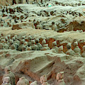 Rows Of Terra Cotta Warriors In Pit 1 by Karen Foley