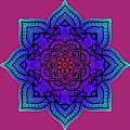 Rubino Zen Flower Yoga Mandala Asia Purple by Tony Rubino