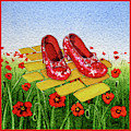 Ruby Slippers Yellow Brick Road Wizard Of Oz by Irina Sztukowski