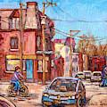 Rue Debullion And Napoleon Corner Store Across Bakery Peloponissos Montreal Paintings C Spandau Art by Carole Spandau