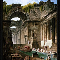 Ruins Of A Roman Bath With Washerwomen By Hubert Robert by Xzendor7