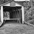 Rural Red Covered Bridge Black And White by Adam Jewell