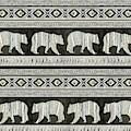 Rustic Mountain Lodge Bear Tribal Tree Pattern by Audrey Jeanne Roberts
