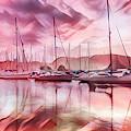 Sailboat Reflections At Sunrise Abstract by Debra and Dave Vanderlaan