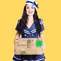 Sailor Pin Up Holding Nautical Supplies by Jorgo Photography - Wall Art Gallery