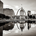 Saint Louis Gateway Arch Reflections - Square Sepia Edition by Gregory Ballos