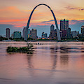 Saint Louis Gateway Arch Skyline Over The Mississippi River 1x1 by Gregory Ballos