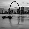 Saint Louis Gateway Arch Skyline Over The Mississippi River - Monochrome 1x1 by Gregory Ballos