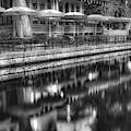 San Antonio Riverwalk Umbrella Reflections - Monochrome Edition by Gregory Ballos
