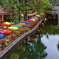 San Antonio Texas Riverwalk Umbrellas Panorama by Gregory Ballos