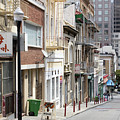 San Francisco Chinatown Commercial Street With View Of Ferry Building Tower R448 by Wingsdomain Art and Photography