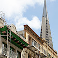 San Francisco Chinatown Italianate Buildings Commercial Street With View Transamerica Tower R451 Sq by Wingsdomain Art and Photography