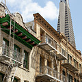 San Francisco Chinatown Italianate Buildings On Commercial Street With View Transamerica Tower R451 by Wingsdomain Art and Photography