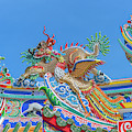 San Jao Phut Gong Dragon Roof Phoenix And And  Dragon Goat  Dthu0722 by Gerry Gantt