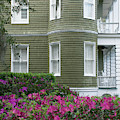 San Souci Cottage And Pink Azaleas On Jekyll Island by Bruce Gourley