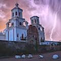 San Xavier Mission Lightning by Chance Kafka