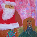 Santa Claus And Guardian Angel - Pintoresco Art By Sylvia by Sylvia Pintoresco