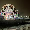 Santa Monica Pier At Night  by John McGraw
