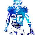 Saquon Barkley New York Giants Water Color Pixel Art 11 by Joe Hamilton
