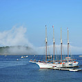 Schooner At Bar Harbor Dock  by Lynda Lehmann