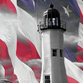 Scituate Lighthouse Against The American Flag by Jeff Folger