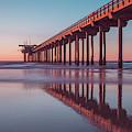 Scripps Pier Sunset San Diego 16x9 Wide by Edward Fielding