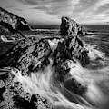 Sea Waves Flowing On Rocks In Manarola, Black And White Fine Art by Matteo Viviani