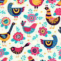 Seamless Pattern With Birds And by Xenia ok