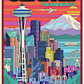 Seattle Poster - Pop Art Skyline by Jim Zahniser