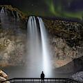 Seljalandsfoss Northern Lights Silhouette by Nathan Bush