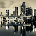 Sepia Tampa Florida Skyline Reflections by Gregory Ballos