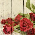 Shabby Chic Bright Red Roses On Wood by Shabby Chic and Vintage Art