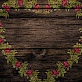 Shabby Chic Red Roses Heart On Wood by Shabby Chic and Vintage Art