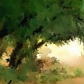 Shade Trees Abstract Digital Artwork By Delynn Addams For Home Decor Wall Art With Matching Colors. by Delynn Addams