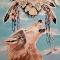 Shaman Mask And Wolf by Jill DeFinis