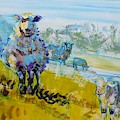 Sheep And Lambs Impressionism Flock With Landscape by Mike Jory