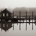 Shem Creek Boathouse Fog by Donnie Whitaker